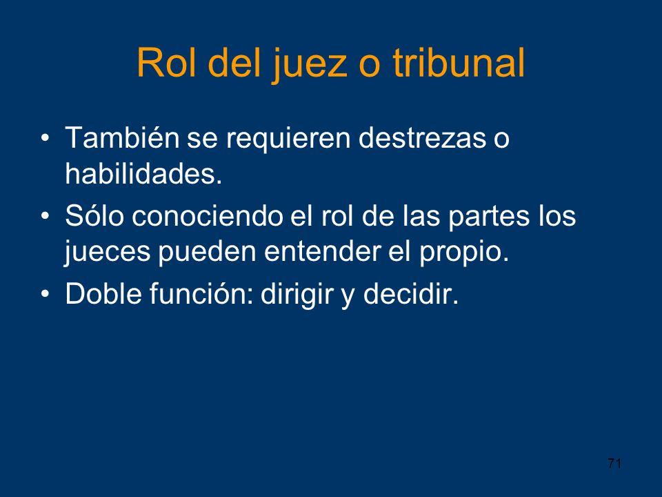 Rol del juez o tribunal También se requieren destrezas o habilidades.