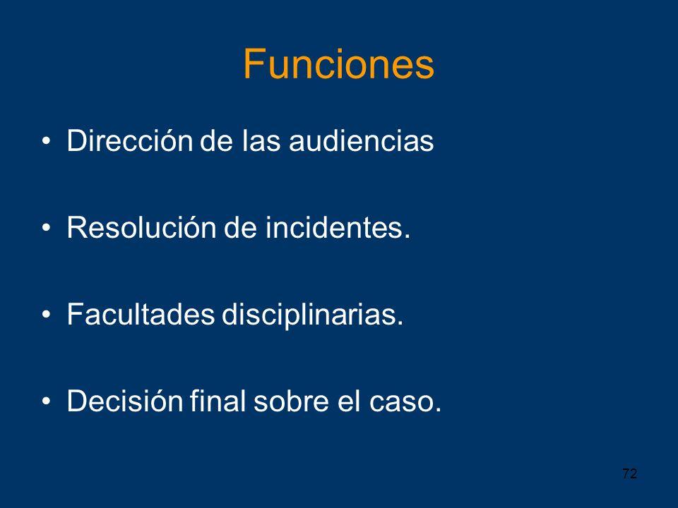 Funciones Dirección de las audiencias Resolución de incidentes.