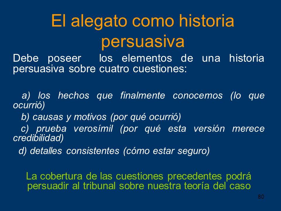 El alegato como historia persuasiva