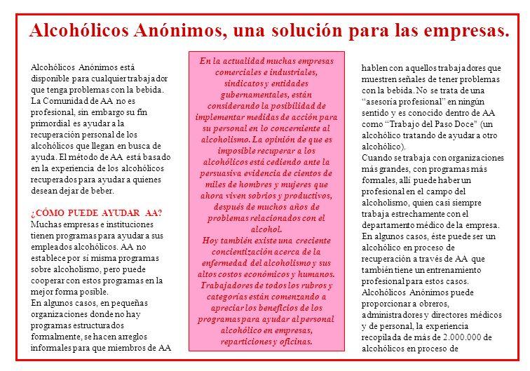 Alcohólicos Anónimos, una solución para las empresas.