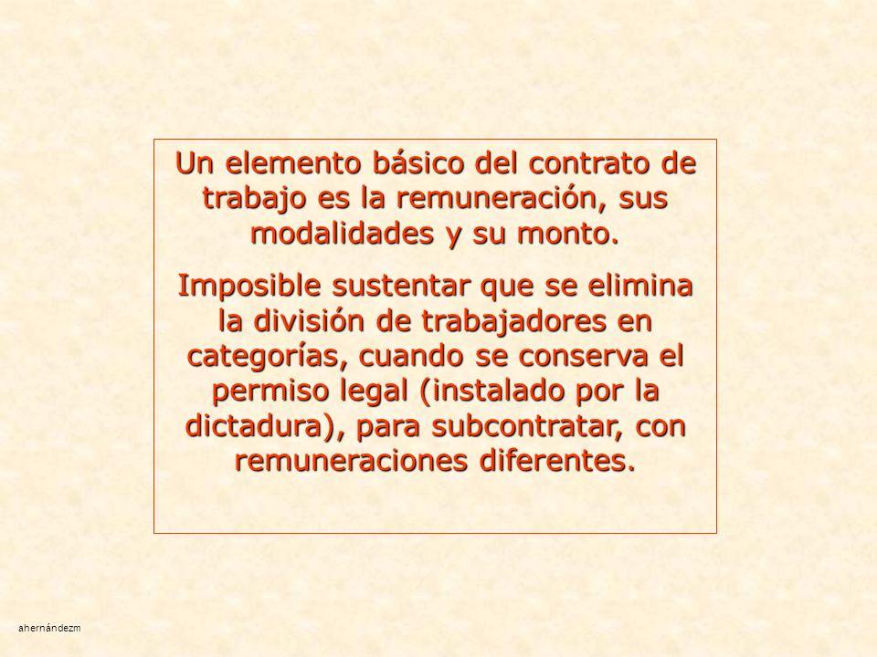 Un elemento básico del contrato de trabajo es la remuneración, sus modalidades y su monto.