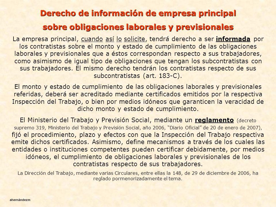 Derecho de información de empresa principal