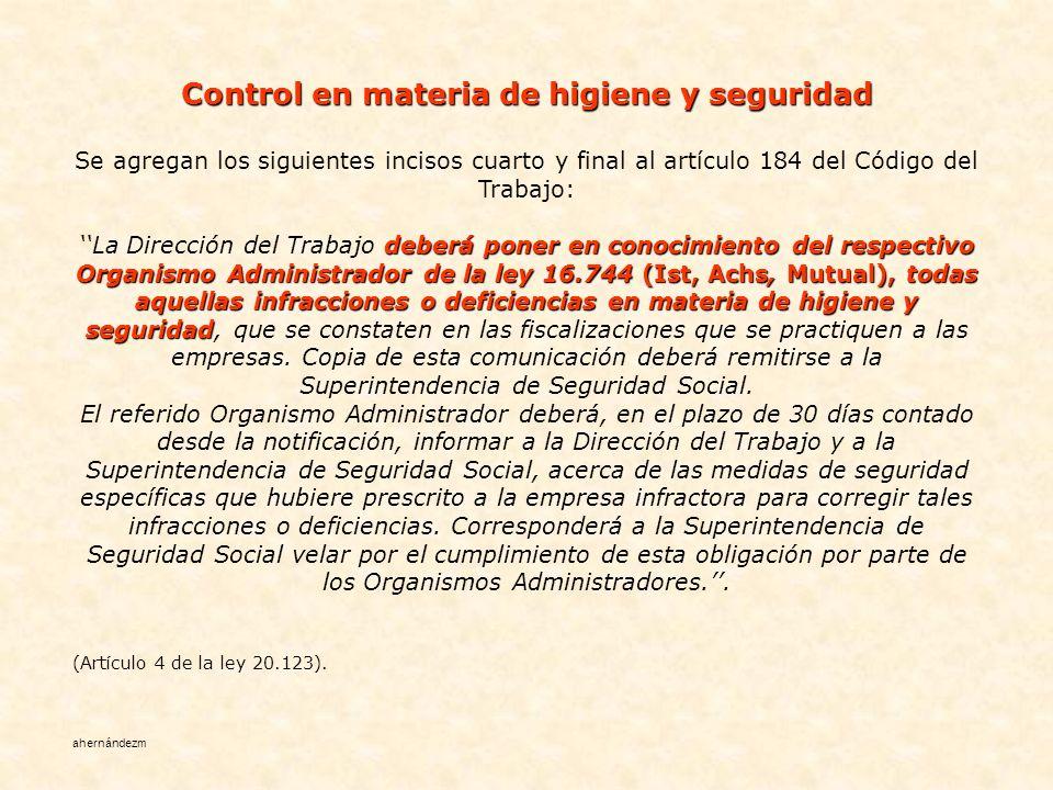 Control en materia de higiene y seguridad