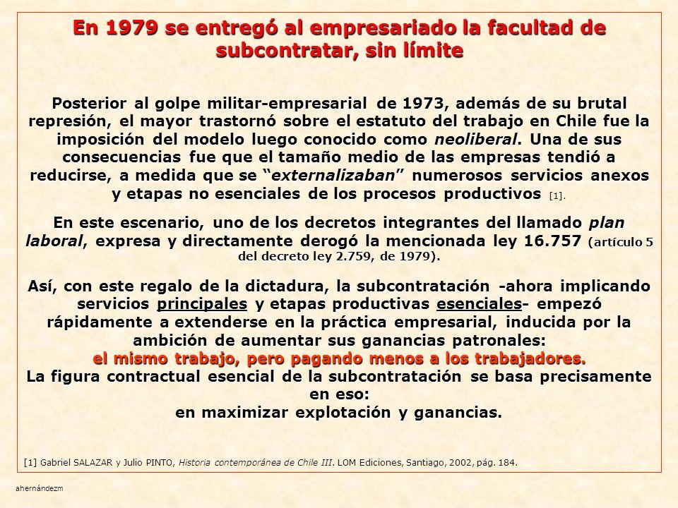 En 1979 se entregó al empresariado la facultad de subcontratar, sin límite