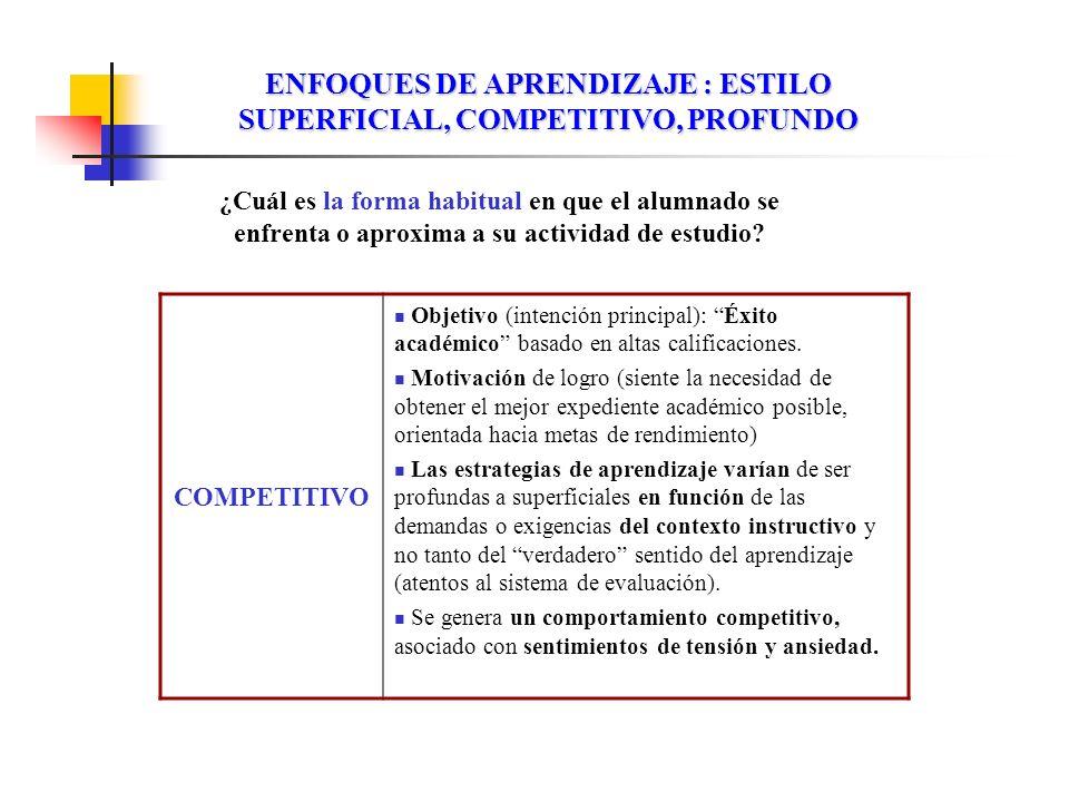ENFOQUES DE APRENDIZAJE : ESTILO SUPERFICIAL, COMPETITIVO, PROFUNDO