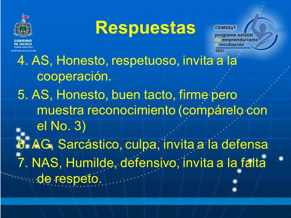 Respuestas 4. AS, Honesto, respetuoso, invita a la cooperación.