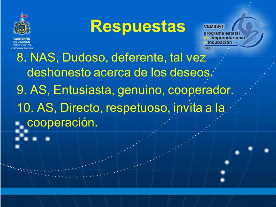 Respuestas 8. NAS, Dudoso, deferente, tal vez deshonesto acerca de los deseos. 9. AS, Entusiasta, genuino, cooperador.