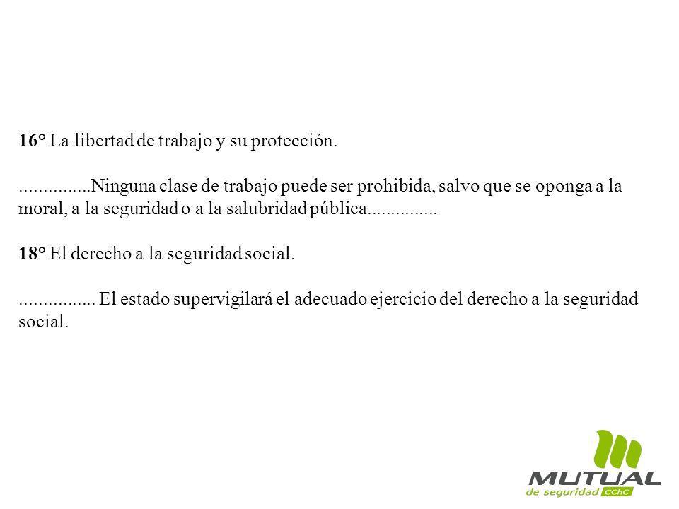 16° La libertad de trabajo y su protección.