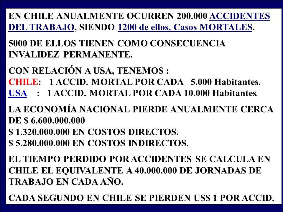 EN CHILE ANUALMENTE OCURREN 200.000 ACCIDENTES