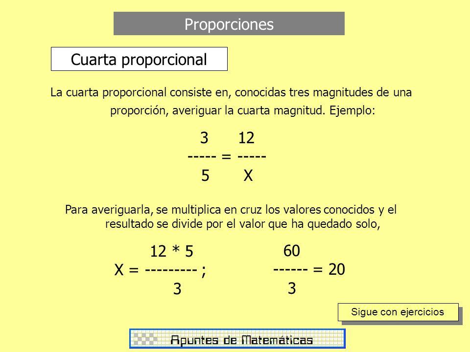 Proporciones Cuarta proporcional 3 12 ----- = ----- 5 X