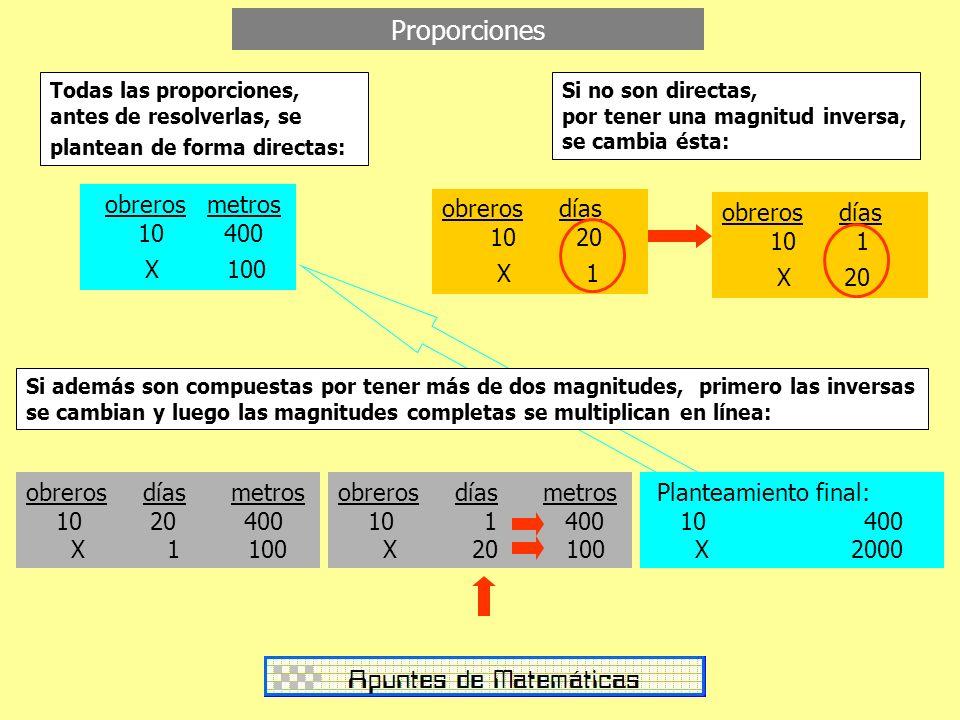Proporciones obreros metros 10 400 X 100 obreros días 10 20 X 1