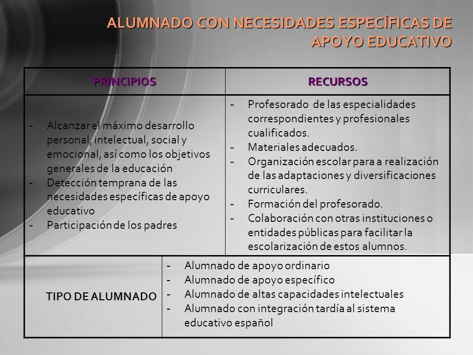 ALUMNADO CON NECESIDADES ESPECÍFICAS DE APOYO EDUCATIVO