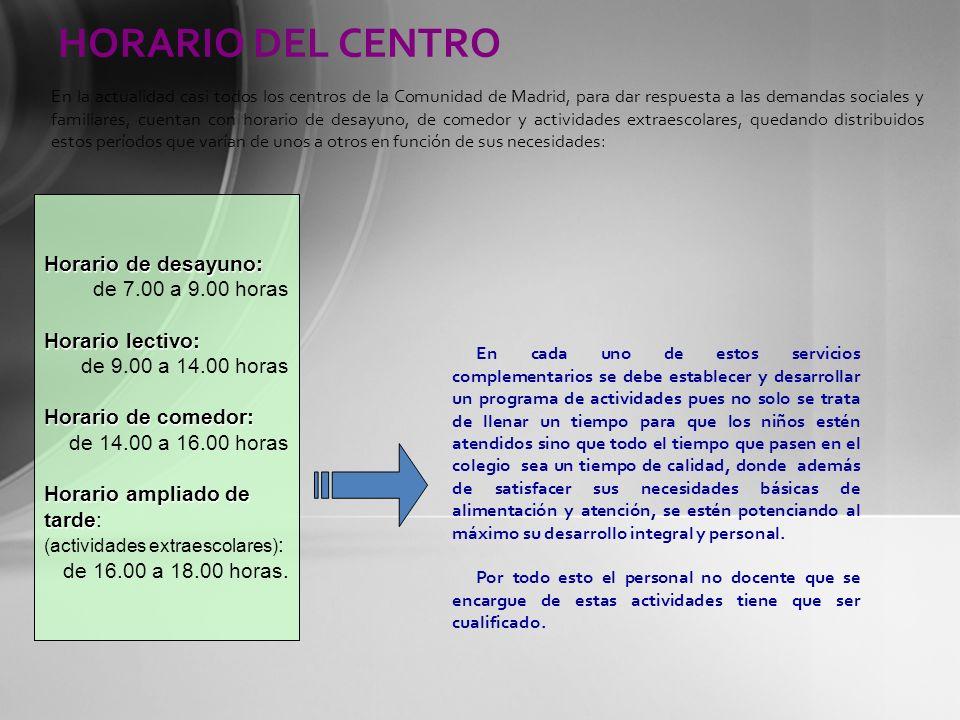 HORARIO DEL CENTRO Horario de desayuno: de 7.00 a 9.00 horas