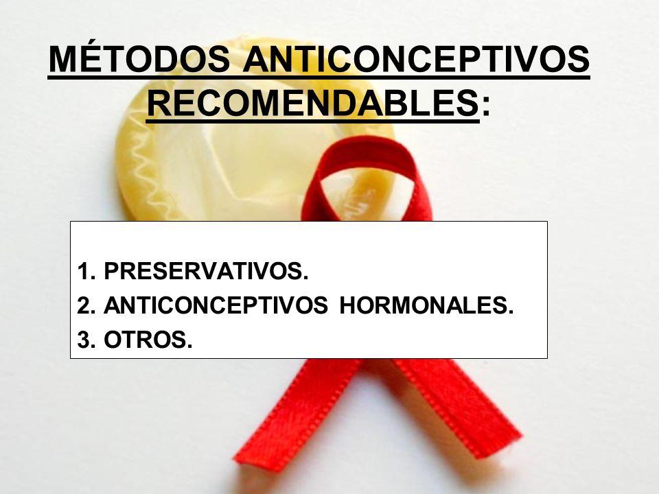 MÉTODOS ANTICONCEPTIVOS RECOMENDABLES: