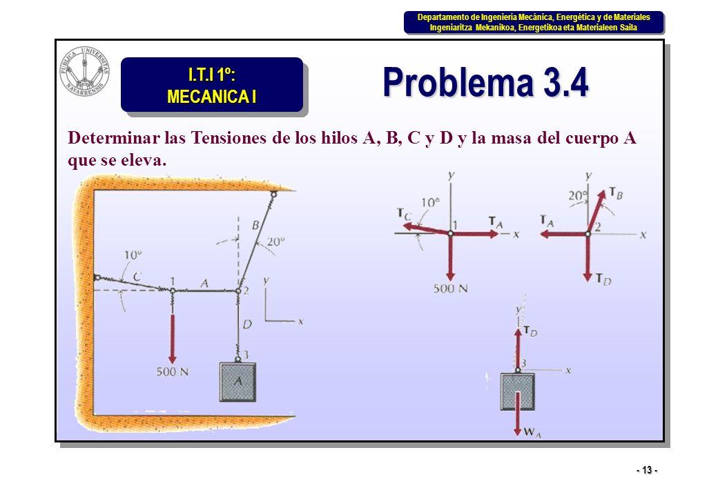 Problema 3.4 Determinar las Tensiones de los hilos A, B, C y D y la masa del cuerpo A que se eleva.