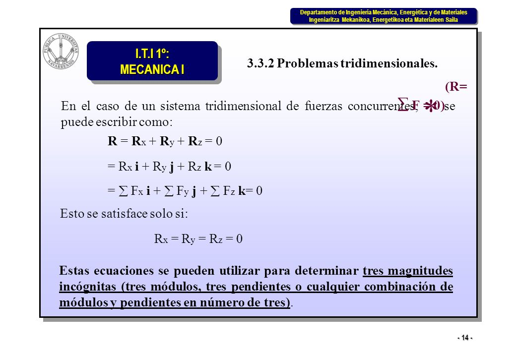 * 3.3.2 Problemas tridimensionales. (R=  F = 0)
