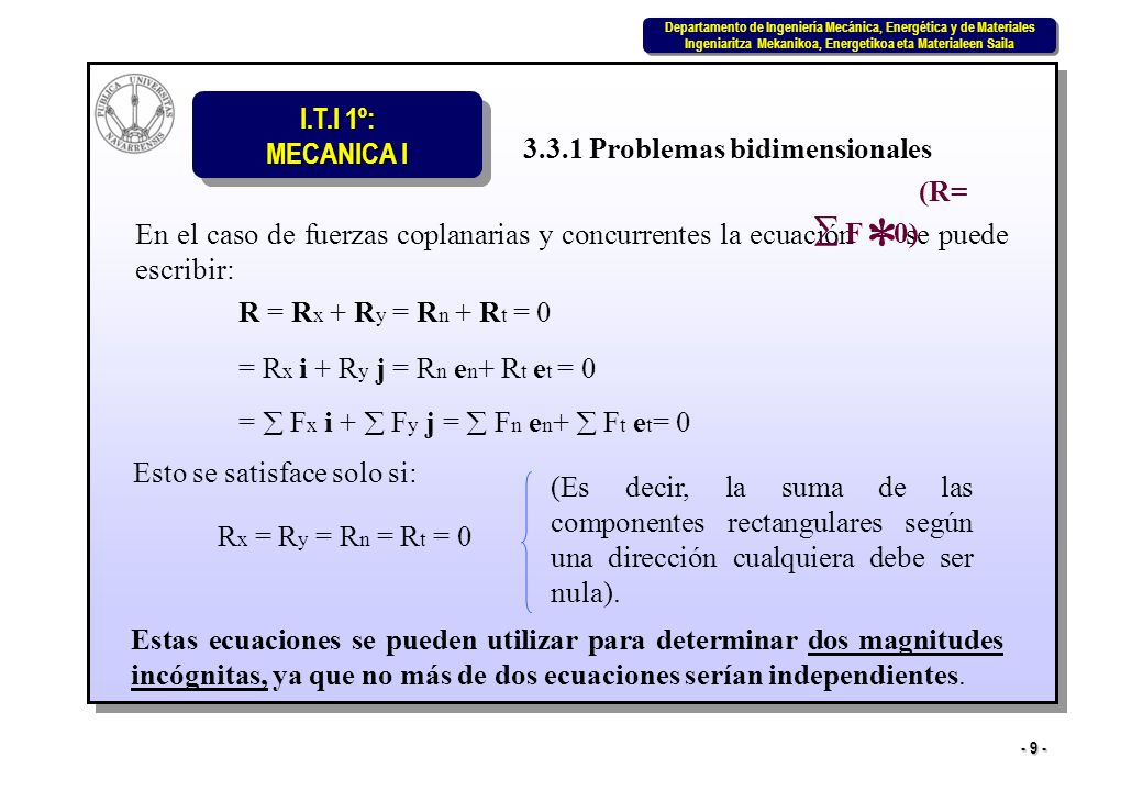 * 3.3.1 Problemas bidimensionales (R=  F = 0)