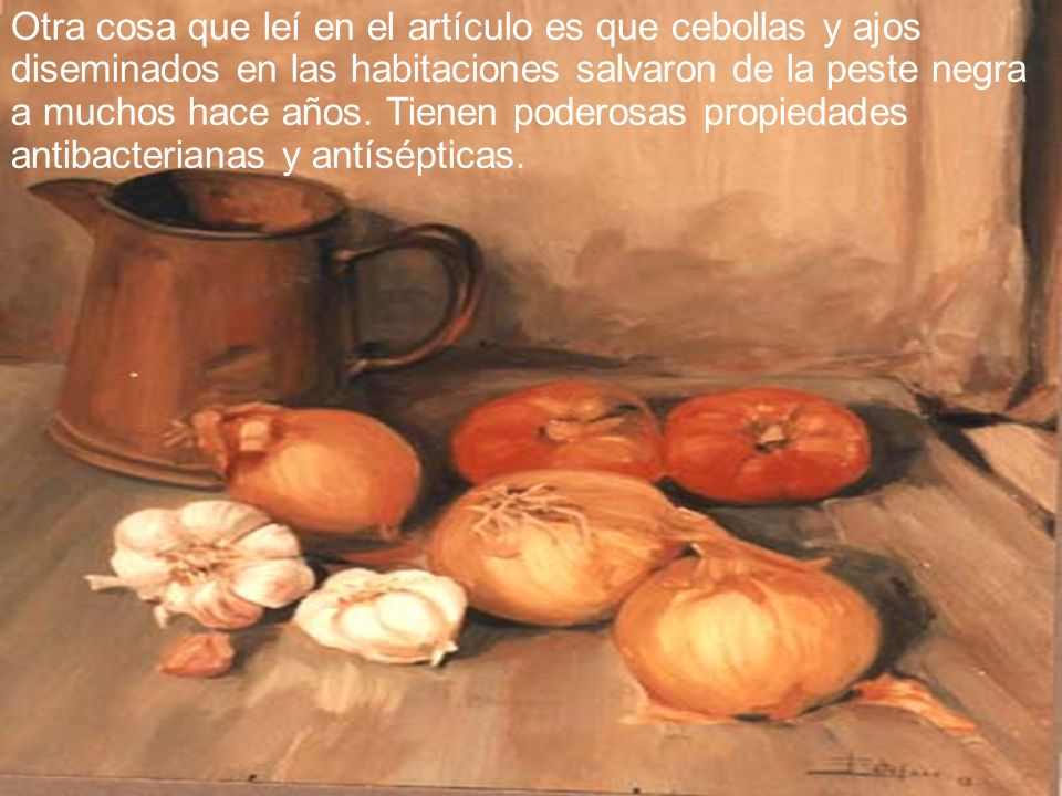 Otra cosa que leí en el artículo es que cebollas y ajos diseminados en las habitaciones salvaron de la peste negra a muchos hace años.
