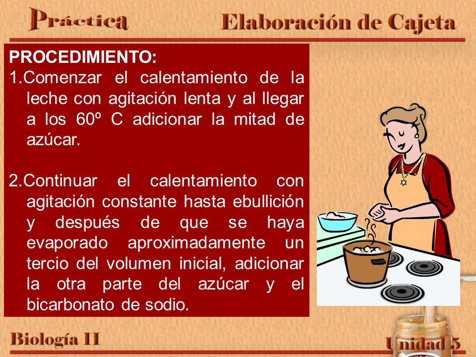 PROCEDIMIENTO: 1.Comenzar el calentamiento de la leche con agitación lenta y al llegar a los 60º C adicionar la mitad de azúcar.