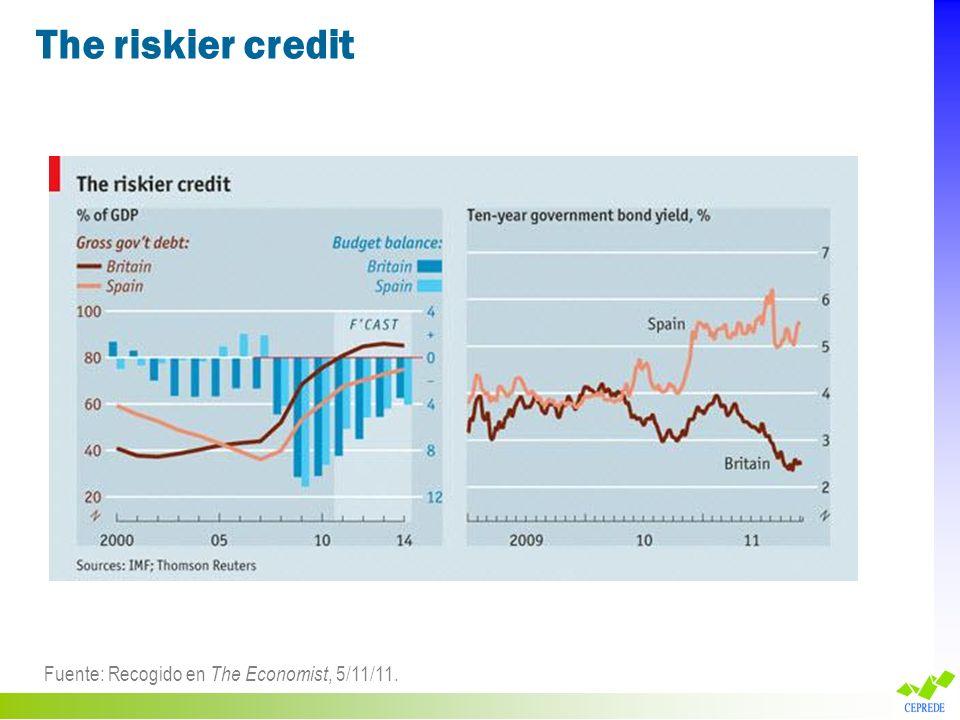 The riskier credit Fuente: Recogido en The Economist, 5/11/11.