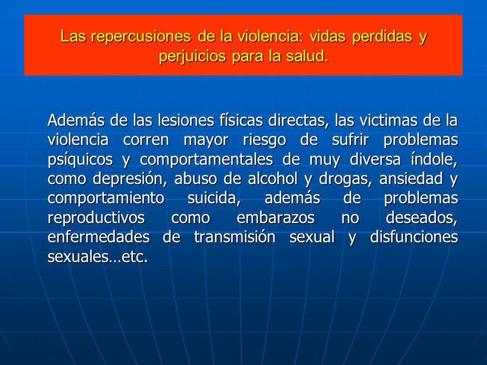 Las repercusiones de la violencia: vidas perdidas y perjuicios para la salud.