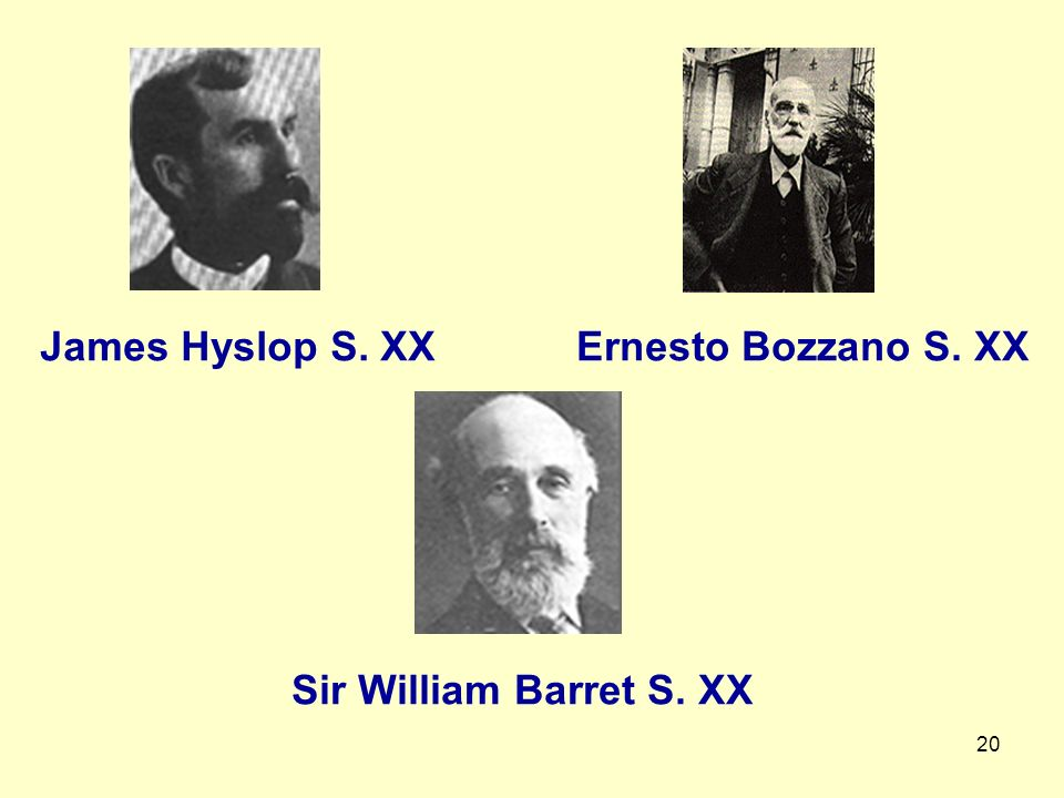 James Hyslop S. XX Ernesto Bozzano S. XX Sir William Barret S. XX