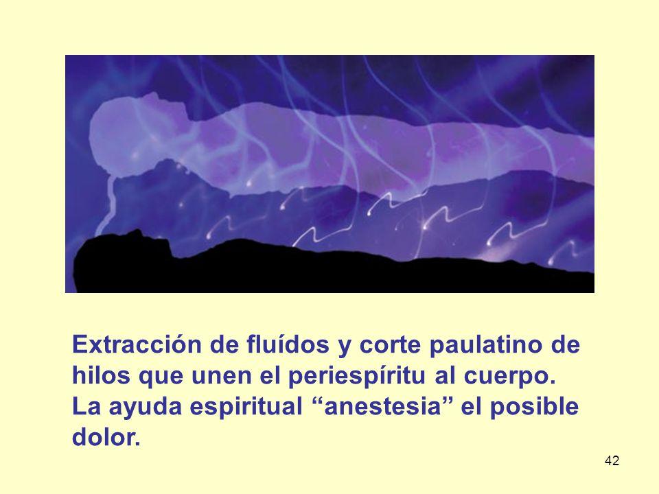 Extracción de fluídos y corte paulatino de hilos que unen el periespíritu al cuerpo.