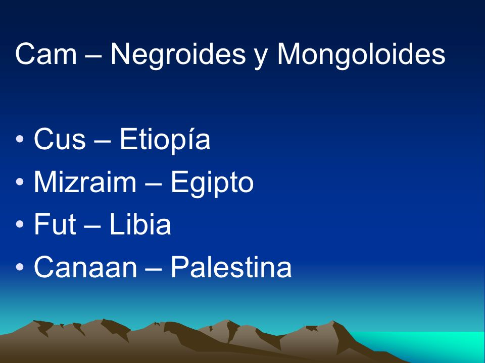 Cam – Negroides y Mongoloides