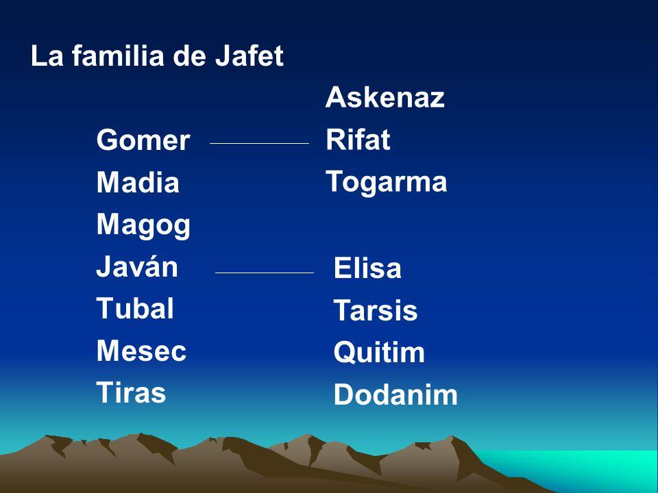 La familia de Jafet Gomer Madia Magog Javán Tubal Mesec Tiras