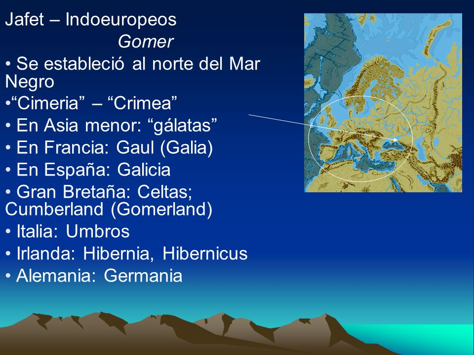 Jafet – Indoeuropeos Gomer. Se estableció al norte del Mar Negro. Cimeria – Crimea En Asia menor: gálatas