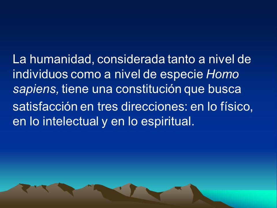 La humanidad, considerada tanto a nivel de individuos como a nivel de especie Homo sapiens, tiene una constitución que busca
