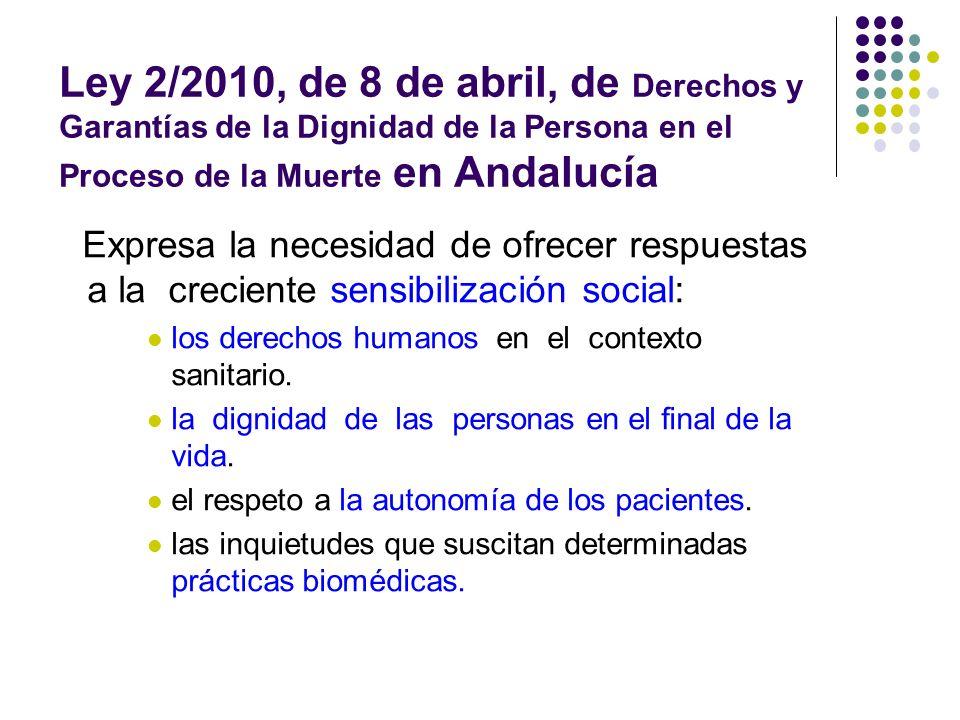 Ley 2/2010, de 8 de abril, de Derechos y Garantías de la Dignidad de la Persona en el Proceso de la Muerte en Andalucía
