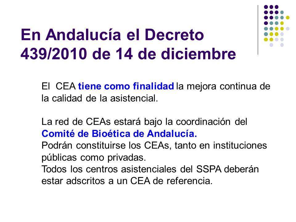 En Andalucía el Decreto 439/2010 de 14 de diciembre