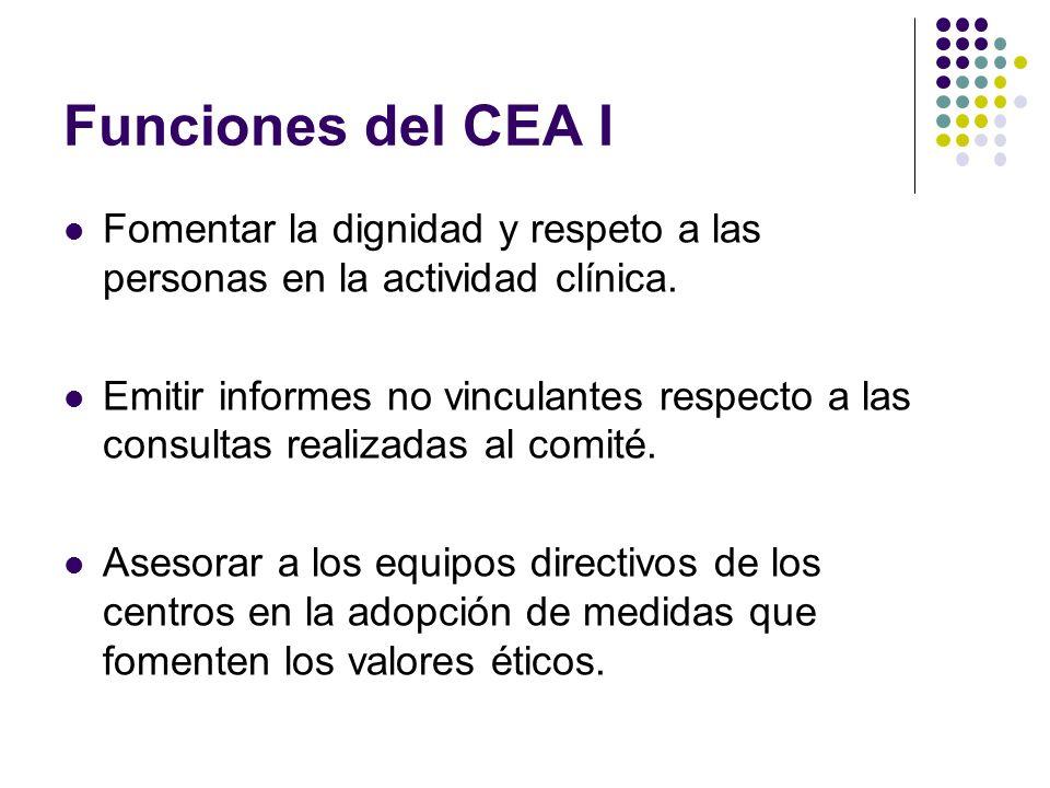 Funciones del CEA I Fomentar la dignidad y respeto a las personas en la actividad clínica.