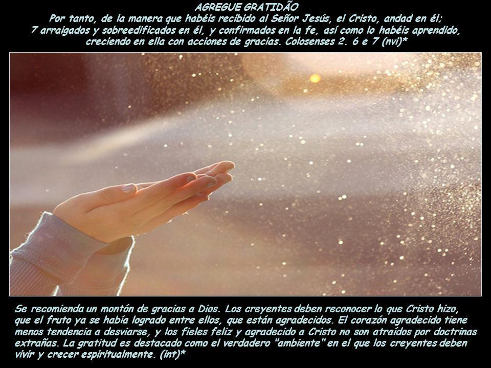 AGREGUE GRATIDÃO Por tanto, de la manera que habéis recibido al Señor Jesús, el Cristo, andad en él;