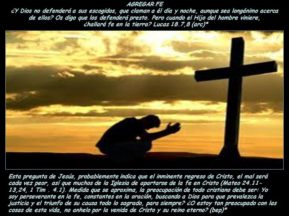 ¿hallará fe en la tierra Lucas 18.7,8 (arc)*
