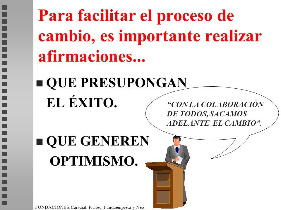Para facilitar el proceso de cambio, es importante realizar afirmaciones...