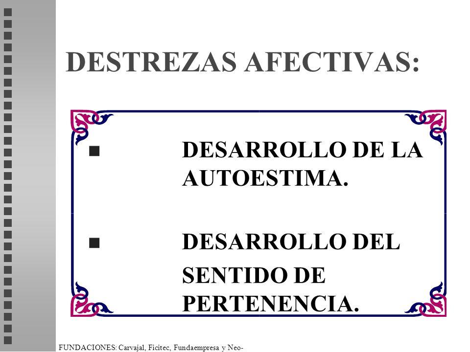 DESTREZAS AFECTIVAS: DESARROLLO DE LA AUTOESTIMA. DESARROLLO DEL
