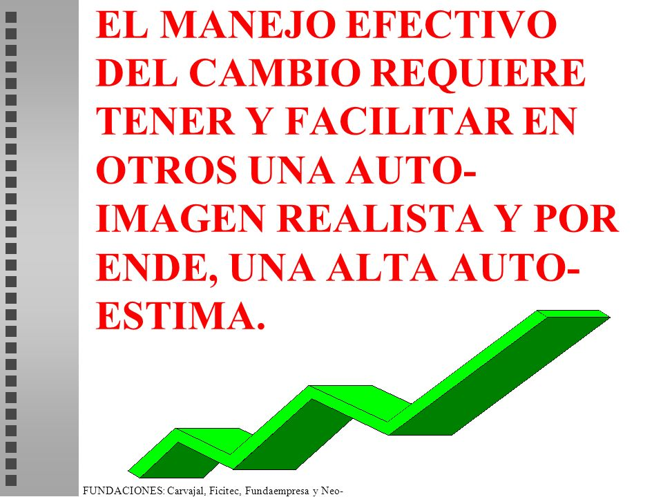 EL MANEJO EFECTIVO DEL CAMBIO REQUIERE TENER Y FACILITAR EN OTROS UNA AUTO-IMAGEN REALISTA Y POR ENDE, UNA ALTA AUTO-ESTIMA.