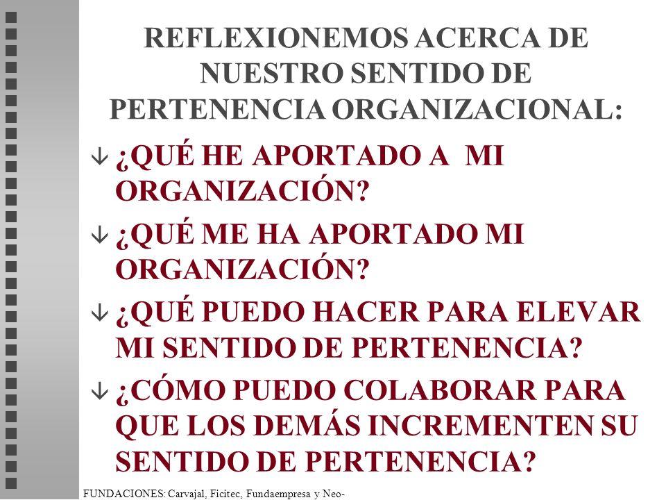 REFLEXIONEMOS ACERCA DE NUESTRO SENTIDO DE PERTENENCIA ORGANIZACIONAL: