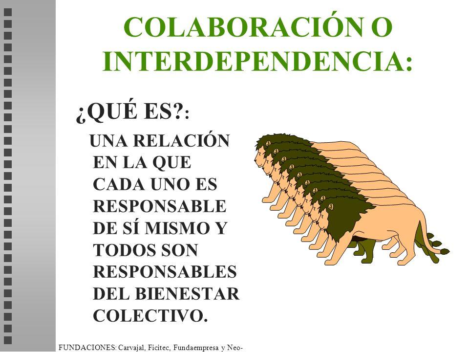 COLABORACIÓN O INTERDEPENDENCIA:
