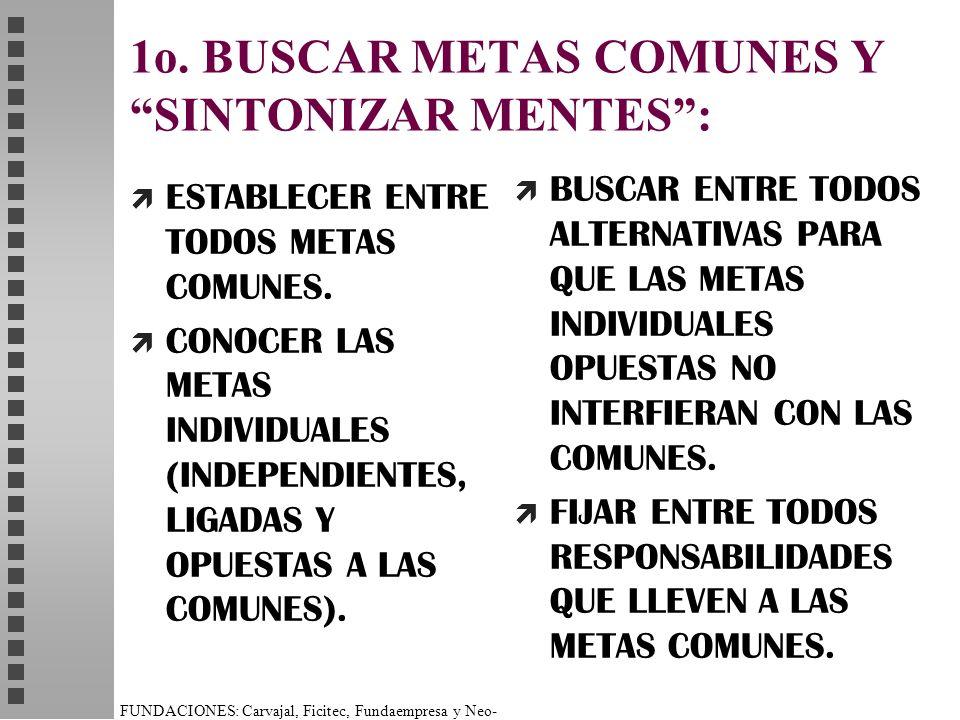 1o. BUSCAR METAS COMUNES Y SINTONIZAR MENTES :