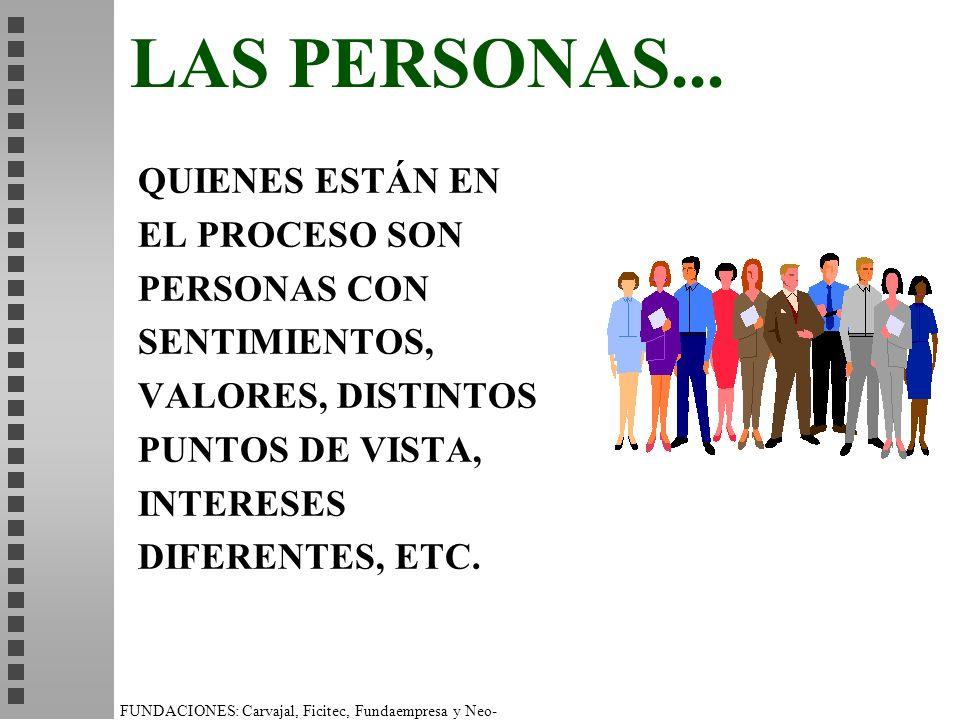 LAS PERSONAS... QUIENES ESTÁN EN EL PROCESO SON PERSONAS CON