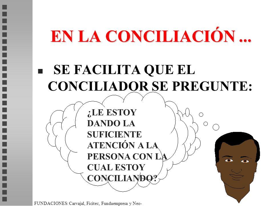 EN LA CONCILIACIÓN ... SE FACILITA QUE EL CONCILIADOR SE PREGUNTE: