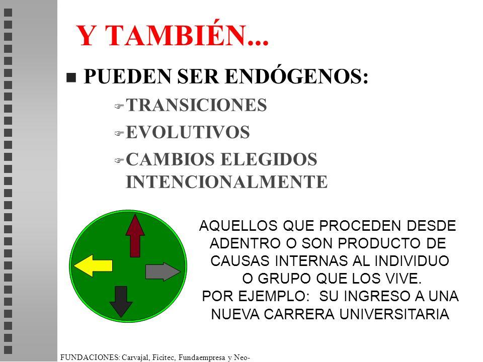 Y TAMBIÉN... PUEDEN SER ENDÓGENOS: TRANSICIONES EVOLUTIVOS