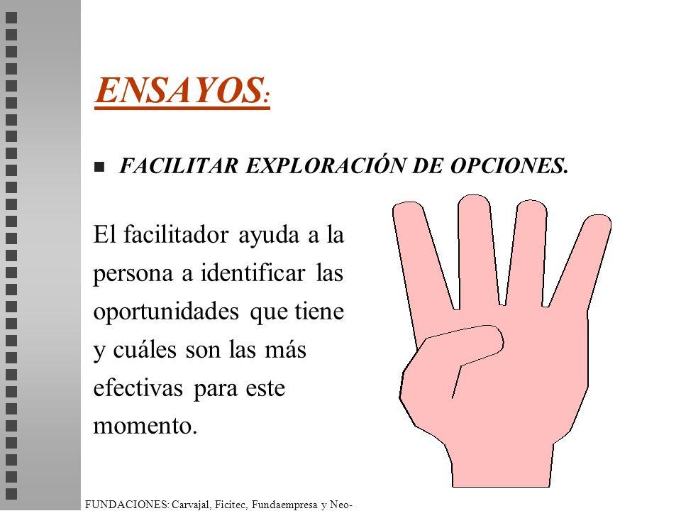ENSAYOS: El facilitador ayuda a la persona a identificar las