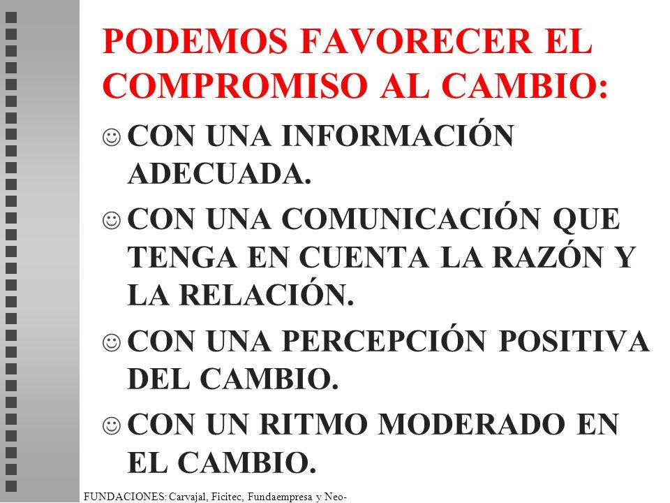 PODEMOS FAVORECER EL COMPROMISO AL CAMBIO: