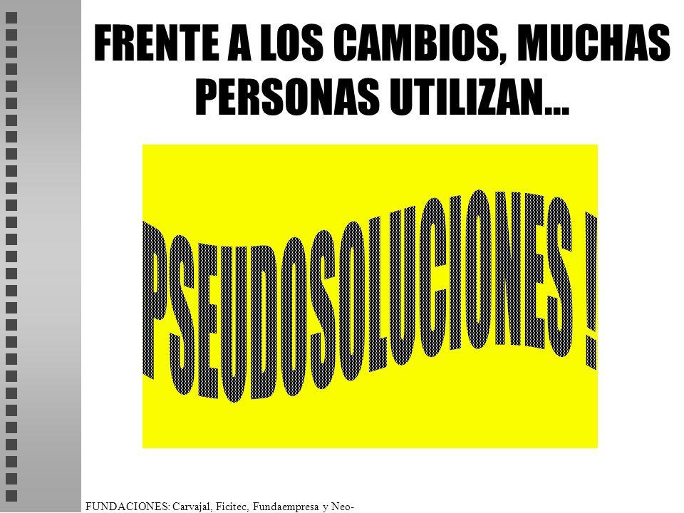 FRENTE A LOS CAMBIOS, MUCHAS PERSONAS UTILIZAN...