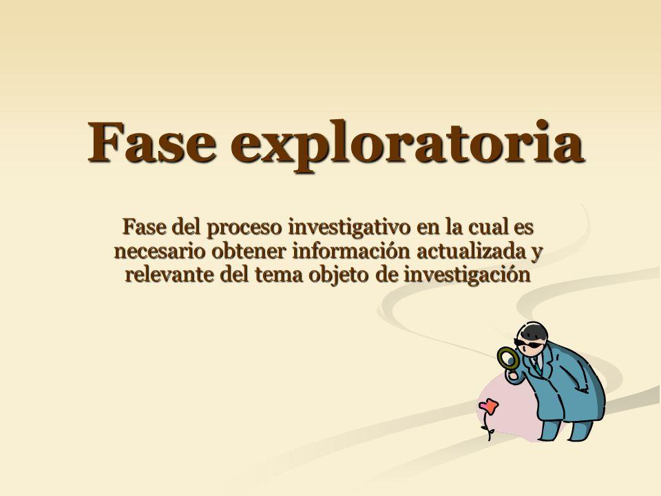 Fase exploratoria Fase del proceso investigativo en la cual es necesario obtener información actualizada y relevante del tema objeto de investigación.