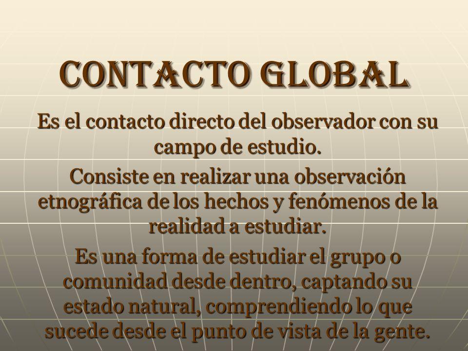 Es el contacto directo del observador con su campo de estudio.